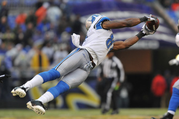 BALTIMORE - DECEMBER 13:  Calvin Johnson #81 of the Detroit Lions makes a catch against the Baltimore Ravens at M&T Bank Stadium on December 13, 2009 in Baltimore, Maryland. The Ravens defeated the Lions 48-3. (Photo by Larry French/Getty Images)