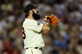 PHOENIX, AZ - JULY 12:  National League All-Star Brian Wilson #38 of the San Francisco Giants reacts after making the save to win the 82nd MLB All-Star Game at Chase Field on July 12, 2011 in Phoenix, Arizona. The National League defeated the American Lea