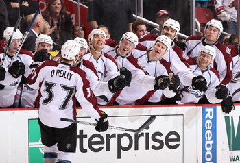 GLENDALE, AZ - APRIL 01:  Ryan O'Reilly #37 of the Colorado Avalanche celebrates with teammates on the bench after scoring a shoot out goal against the Phoenix Coyotes during the NHL game at Jobing.com Arena on April 1, 2011 in Glendale, Arizona. The Aval