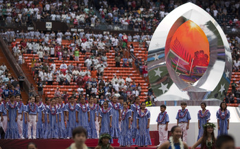 HONOLULU - JANUARY 30:  Members of the Kamehameha Schools Choir prepare for the pre-game show at the 2011 NFL Pro Bowl at Aloha Stadium on January 30, 2011 in Honolulu, Hawaii.  (Photo by Kent Nishimura/Getty Images)