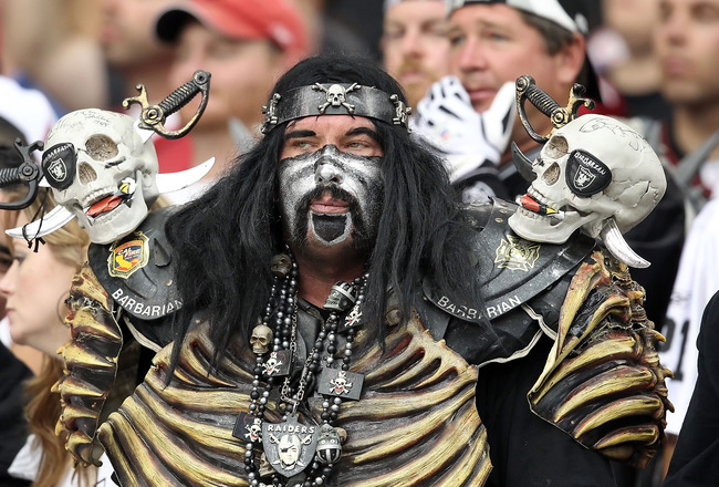 GLENDALE, AZ - SEPTEMBER 26:  A fan of the Oakland Raiders during the NFL game against the Arizona Cardinals at the University of Phoenix Stadium on September 26, 2010 in Glendale, Arizona.  The Cardinals defeated the Raiders 24-23.  (Photo by Christian P