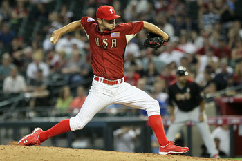 PHOENIX, AZ - JULY 10:  U.S. Futures All-Star Jarred Cosart #31 of the Philadelphia Phillies pitches during the 2011 XM All-Star Futures Game at Chase Field on July 10, 2011 in Phoenix, Arizona.  (Photo by Jeff Gross/Getty Images)