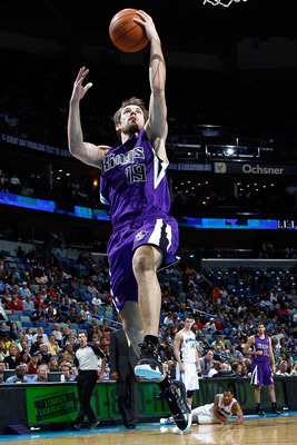 NEW ORLEANS, LA - DECEMBER 15:  Beno Udrih #19 of the Sacramento Kings makes a layup during the game against the New Orleans Hornets  at the New Orleans Arena on December 15, 2010 in New Orleans, Louisiana.  NOTE TO USER: User expressly acknowledges and a