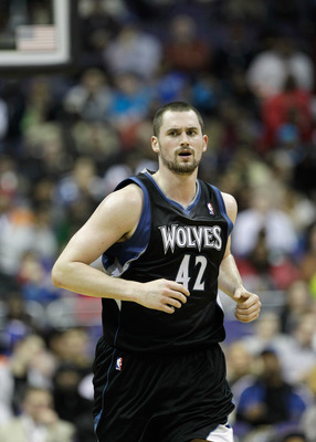 WASHINGTON, DC - MARCH 05:  Kevin Love #42 of the Minnesota Timberwolves against the Washington Wizards at the Verizon Center on March 5, 2011 in Washington, DC. NOTE TO USER: User expressly acknowledges and agrees that, by downloading and/or using this P