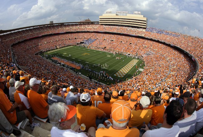 KNOXVILLE, TN - SEPTEMBER 12: A general view of the stadium during a game between the UCLA Bruins and the Tennessee Volunteers on September 12, 2009 at Neyland Stadium in Knoxville, Tennessee. UCLA beat Tennessee 19-15. (Photo by Joe Murphy/Getty Images)