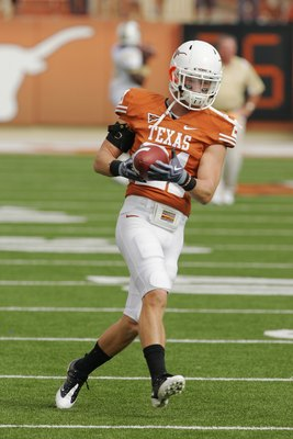 AUSTIN, TX - NOVEMBER 07:  Safety Blake Gideon #21 of the Texas Longhorns practices before a game against the UCF Knights on November 7, 2009 at Darrell K Royal - Texas Memorial Stadium in Austin, Texas.  Texas won 35-3.  (Photo by Brian Bahr/Getty Images