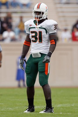 DURHAM, NC - OCTOBER 18:  Sean Spence #31 of the Miami Hurricanes stands on the field during the game against the Duke Blue Devils at Wallace Wade Stadium on October 18, 2008 in Durham, North Carolina.  (Photo by Kevin C. Cox/Getty Images)