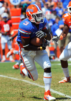 GAINESVILLE, FL - APRIL 9:  Running back Chris Rainey #3 of the Florida Gators runs upfield during the Orange and Blue spring football game April 9, 2010 Ben Hill Griffin Stadium in Gainesville, Florida.  (Photo by Al Messerschmidt/Getty Images)