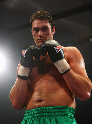 NORWICH, UNITED KINGDOM - FEBRUARY 28:  Tyson Fury poses for photos after defeating Daniel Peret in the Heavyweight division at Norfolk Showground on February 28, 2009 in Norwich, England.  (Photo by Julian Finney/Getty Images)