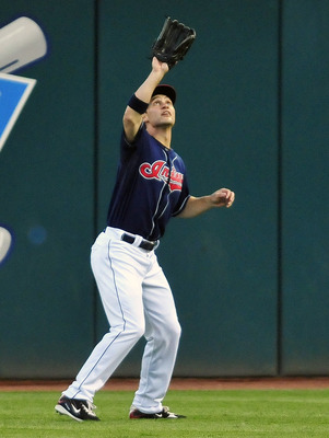 CLEVELAND, OH - JULY 5: Grady Sizemore #24 of the Cleveland Indians catches a fly ball from Derek Jeter #2 (not shown) of the New York Yankees at Progressive Field on July 5, 2011 in Cleveland, Ohio. (Photo by Jason Miller/Getty Images)