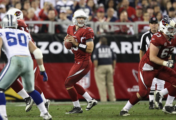 GLENDALE, AZ - DECEMBER 25:  Quarterback John Skelton #19 of the Arizona Cardinals drops back to half during the NFL game against the Dallas Cowboys at the University of Phoenix Stadium on December 25, 2010 in Glendale, Arizona. The Cardinals defeated the