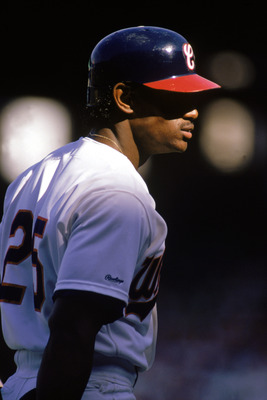 1990:  Sammy Sosa of the Chicago White Sox looks on during the 1990 season. (Photo by:  Jonathan Daniel/Getty Images)