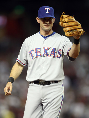 PHOENIX, AZ - JULY 12:  American League All-Star Michael Young #10 of the Texas Rangers reacts during the 82nd MLB All-Star Game at Chase Field on July 12, 2011 in Phoenix, Arizona.  (Photo by Christian Petersen/Getty Images)
