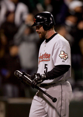 CHICAGO - OCTOBER 22:  Designated hitter Jeff Bagwell #5 of the Houston Astros reacts after striking out to end the eigth inning of Game One of the 2005 Major League Baseball World Series against the Chicago White Sox at U.S. Celluar Field on October 22,