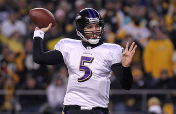 PITTSBURGH, PA - JANUARY 15:  Quarterback Joe Flacco #5 of the Baltimore Ravens looks to pass against the Pittsburgh Steelers in the AFC Divisional Playoff Game at Heinz Field on January 15, 2011 in Pittsburgh, Pennsylvania.  (Photo by Nick Laham/Getty Im