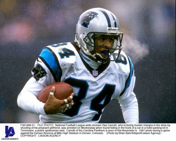 F361998 01: FILE PHOTO: National Football League wide receiver Rae Carruth, who is facing murder charges in the drive-by shooting of his pregnant girlfriend, was arrested on Wednesday when found hiding in the trunk of a car in a hotel parking lot in Tenne