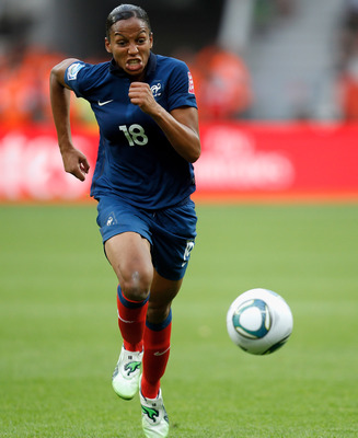 LEVERKUSEN, GERMANY - JULY 09:  Marie-Laure Delie of France runs with the ball during the FIFA Women's World Cup 2011 Quarter Final match between England and France at the FIFA Women's World Cup Stadium Leverkusen on July 9, 2011 in Leverkusen, Germany.