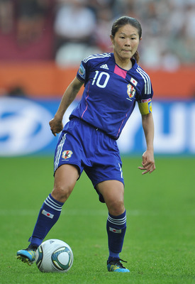AUGSBURG, GERMANY - JULY 05:  Homare Sawa of Japan in action during the FIFA Women's World Cup 2011 group B match between England and Japan at the FIFA World Cup stadiumon July 5, 2011 in Augsburg, Germany.  (Photo by Stuart Franklin/Getty Images)