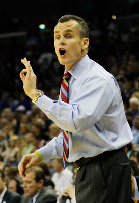 NEW ORLEANS, LA - MARCH 26:  Head coach Billy Donovan of the Florida Gators yells to his team during their game against the Butler Bulldogs in the Southeast regional final of the 2011 NCAA men's basketball tournament at New Orleans Arena on March 26, 2011