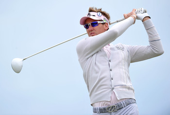 SANDWICH, ENGLAND - JULY 13:   Ian Poulter of England tees off during the final practice round during The Open Championship at Royal St. George's on July 13, 2011 in Sandwich, England. The 140th Open begins on July 14, 2011.. (Photo by Stuart Franklin/Get