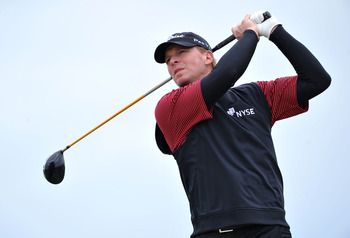 SANDWICH, ENGLAND - JULY 13:   Steve Stricker of the United States tees off during the final practice round during The Open Championship at Royal St. George's on July 13, 2011 in Sandwich, England. The 140th Open begins on July 14, 2011.. (Photo by Stuart
