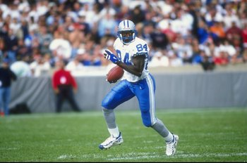 4 Oct 1998:  Wide receiver Herman Moore #84 of the Detroit Lions in action during a game against the Chicago Bears at Soldier Field in Chicago, Illinois. The Bears defeated the Lions 31-27.