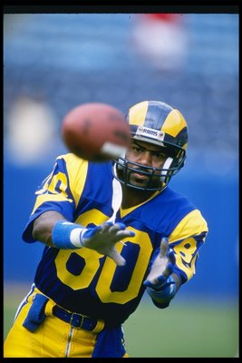 10 Sep 1989: Wide receiver Henry Ellard of the Los Angeles Rams looks to catch the ball during a game against the Atlanta Falcons at the Fulton County Stadium in Atlanta, Georgia. The Rams won the game, 31-21.
