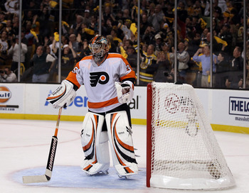 BOSTON, MA - MAY 06:  Sergei Bobrovsky #35 of the Philadelphia Flyers reacts as the Boston Bruins fans cheer after a goal in the third period in Game Four of the Eastern Conference Semifinals during the 2011 NHL Stanley Cup Playoffs at TD Garden on May 6,
