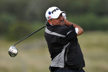 SANDWICH, ENGLAND - JULY 12:  Angel Cabrera of Argentina watches a tee shot during the second practice round during The Open Championship at Royal St. George's on July 12, 2011 in Sandwich, England. The 140th Open begins on July 14, 2011.  (Photo by Stuar