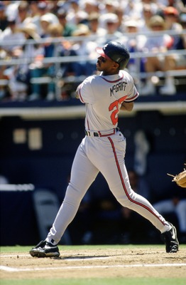 14  Apr 1996:  First baseman Fred McGriff of the Atlanta Braves stares into the outfield as he watches for the result of his hit during an at-bat in the Braves 4-0 victory over the San Diego Padres at Jack Murphy Stadium in San Diego, California.    Manda