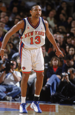 08 Dec 2001:  Point Guard Mark Jackson #13 of the New York Knicks readies to defend against the Indiana Pacers during the NBA game at Madison Square Garden in New York, New York.  The Knicks defeated the Pacers 101-99. Mandatory Credit:  Al Bello/Getty Im