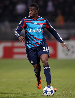 LYON, FRANCE - FEBRUARY 22:  Aly Cissokho of Lyon during the Champions League match between Lyon and Real Madrid at Stade Gerland on February 22, 2011 in Lyon, France.  (Photo by Scott Heavey/Getty Images)