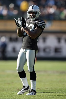 OAKLAND, CA - OCTOBER 19:  DeAngelo Hall #23 of the Oakland Raiders claps his hands during the game against the New York Jets on October 19, 2008 at the Oakland-Alameda County Coliseum in Oakland, California. (Photo by Jed Jacobsohn/Getty Images)