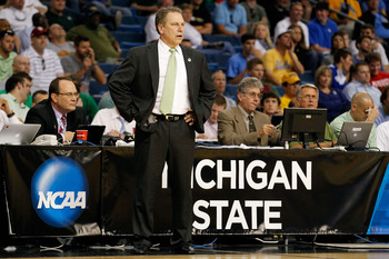 TAMPA, FL - MARCH 17:  Head coach Tom Izzo of the Michigan State Spartans looks on in the second half against the UCLA Bruins during the second round of the 2011 NCAA men's basketball tournament at St. Pete Times Forum on March 17, 2011 in Tampa, Florida.