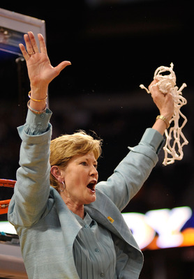 TAMPA, FL - APRIL 08:  Head coach Pat Summitt of the Tennessee Lady Volunteers celebrates cutting down the net after their 64-48 win against the Stanford Cardinal during the National Championsip Game of the 2008 NCAA Women's Final Four at St. Pete Times F