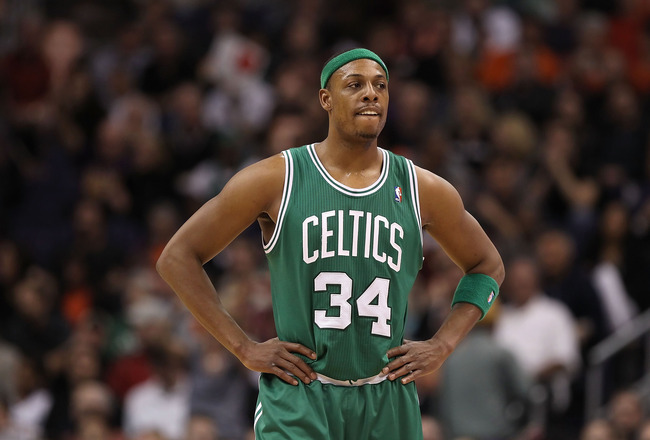 PHOENIX, AZ - JANUARY 28:  Paul Pierce #34 of the Boston Celtics during the NBA game against the Phoenix Suns at US Airways Center on January 28, 2011 in Phoenix, Arizona. The Suns defeated the Celtics 88-71. NOTE TO USER: User expressly acknowledges and
