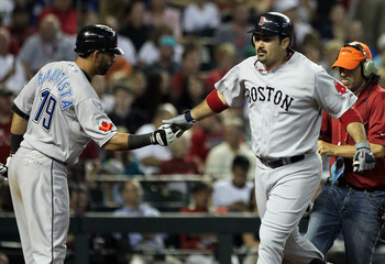 PHOENIX, AZ - JULY 12:  American League All-Star Adrian Gonzalez #28 of the Boston Red Sox is congratulated by American League All-Star Jose Bautista #19 of the Toronto Blue Jays as he runs the bases after hitting a home run in the fourth inning of the 82