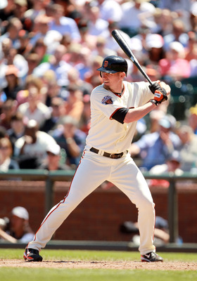 SAN FRANCISCO, CA - JUNE 23:  Aubrey Huff #17 of the San Francisco Giants bats against the Minnesota Twins at AT&T Park on June 23, 2011 in San Francisco, California.  (Photo by Ezra Shaw/Getty Images)