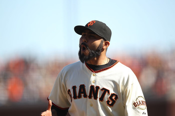 SAN FRANCISCO - SEPTEMBER 30:  Sergio Romo #54 of the San Francisco Giants celebrates after striking out Miguel Montero of the Arizona Diamondbacks in the eighth innng during a Major League Baseball game at AT&T Park on September 30, 2010 in San Francisco