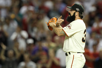 PHOENIX, AZ - JULY 12:  National League All-Star Brian Wilson #38 of the San Francisco Giants reacts after making the save in the 82nd MLB All-Star Game at Chase Field on July 12, 2011 in Phoenix, Arizona. The National League defeated the American League