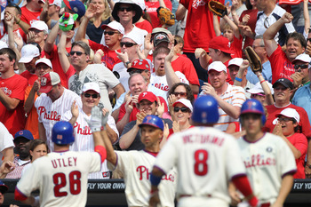 PHILADELPHIA - JUNE 12: Philadelphia Phillies fans cheer after the go ahead run scores during a game against the Chicago Cubs at Citizens Bank Park on June 12, 2011 in Philadelphia, Pennsylvania. The Phillies won 4-3. (Photo by Hunter Martin/Getty Images)