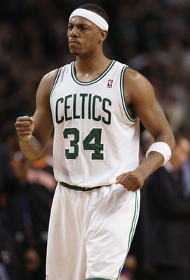 BOSTON, MA - APRIL 19:  Paul Pierce #34 of the Boston Celtics celebrates the win against the New York Knicks in Game Two of the Eastern Conference Quarterfinals in the 2011 NBA Playoffs on April 19, 2011 at the TD Garden in Boston, Massachusetts. The Bost