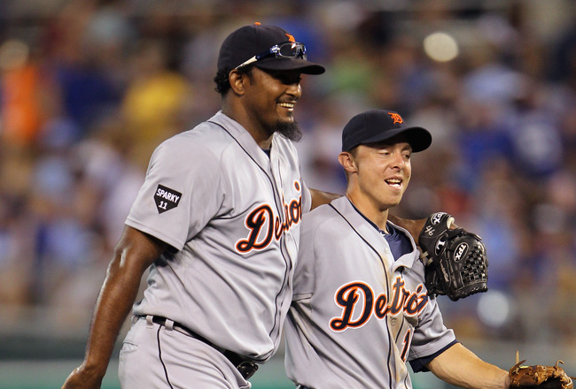 KANSAS CITY, MO - JULY 08:  Closing pitcher Jose Valverde #46 of the Detroit Tigers jokes with Brandon Inge #15 as they react after winning the game against the Kansas City Royals on July 8, 2011 at Kauffman Stadium in Kansas City, Missouri.  The Tigers d