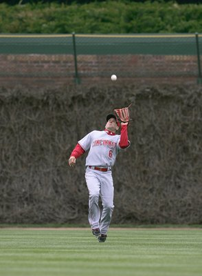 CHICAGO - APRIL 14: Ryan Freel #6 of the Cincinnati Reds moves to make the catch during the game against the Chicago Cubs on April 14, 2007 at Wrigley Field in Chicago, Illinois. (Photo by Jonathan Daniel/Getty Images)