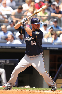 NEW YORK, NY - JUNE 30: Casey McGehee #14 of the Milwaukee Brewers in action against the New York Yankees  during their game on June 30, 2011 at Yankee Stadium in the Bronx borough of New York City.  (Photo by Al Bello/Getty Images)