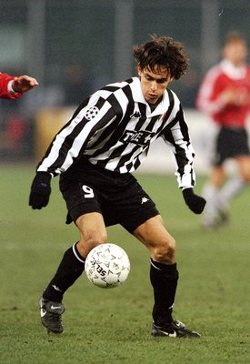 9 Dec 1998:  Filippo Inzaghi of Juventus in action during the European Champions League match against Rosenborg in Torino, Italy. Juventus won the game 2-0. \ Mandatory Credit: Stu Forster /Allsport