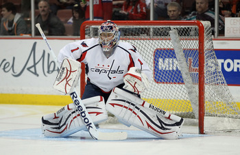 ANAHEIM, CA - FEBRUARY 16:  Goaltender Semyon Varlamov #1 of the Washington Capitals warms up prior to the start of the game against the Anaheim Ducks at Honda Center on February 16, 2011 in Anaheim, California.  (Photo by Jeff Gross/Getty Images)