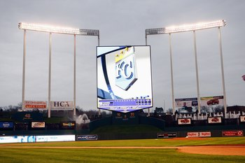 KANSAS CITY, MO - APRIL 9:  A field level view shows the scoreboard before the Kansas City Royals game against the New York Yankees on April 9, 2008 at Kauffman Stadium in Kansas City, Missouri. (Photo by G. Newman Lowrance/Getty Images)