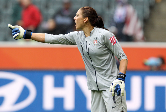 MOENCHENGLADBACH, GERMANY - JULY 13:  Hope Solo, goalkeeper of USA gestures during the FIFA Women's World Cup 2011 Semi Final match between France and USA at Borussia-Park on July 13, 2011 in Moenchengladbach, Germany.  (Photo by Martin Rose/Getty Images)