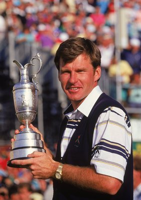 22 Jul 1990:  Nick Faldo of England holds aloft the Claret Jug after winning the British Open played at St Andrews in Fife, Scotland. \ Mandatory Credit: David Cannon /Allsport